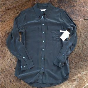 Equipment slim signature shirt xs true black NWT